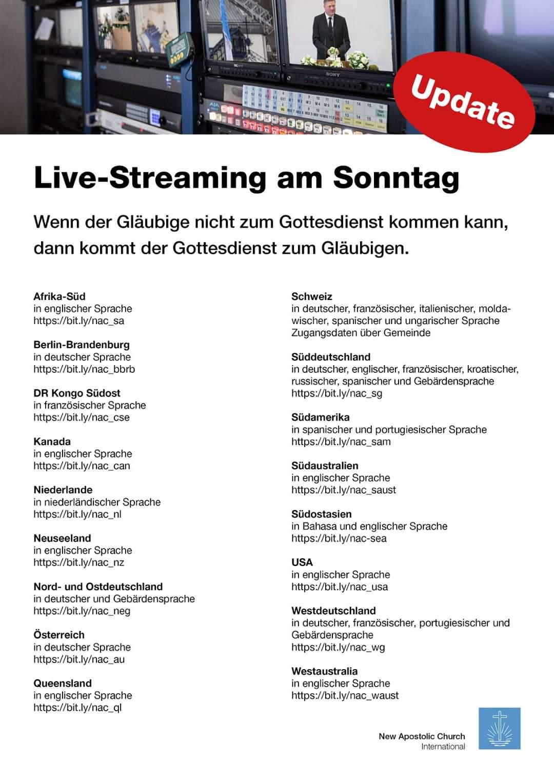 Live-Übertragung Gottelsienste Update